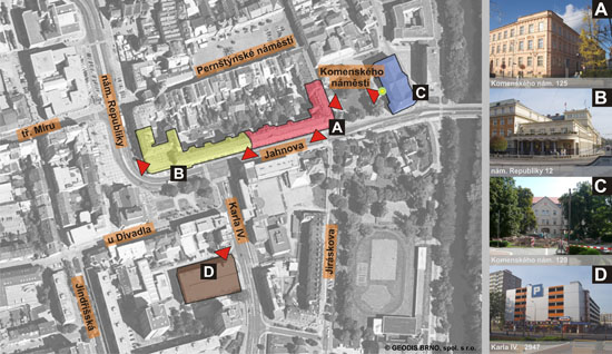 mapa s vyznačením vstupů do budov pardubického kraje a parkovacího domu