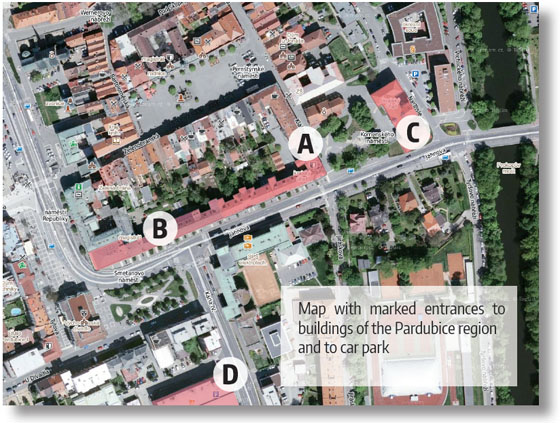 map with marked entrances to buildings of the pardubice region and to car park
