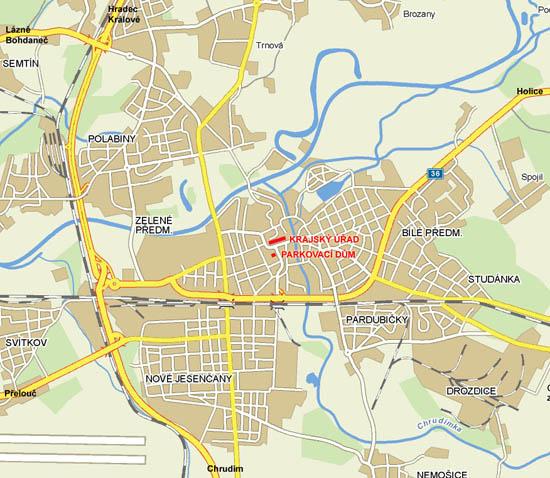 mapa pardubic s vyznačením příjezdů